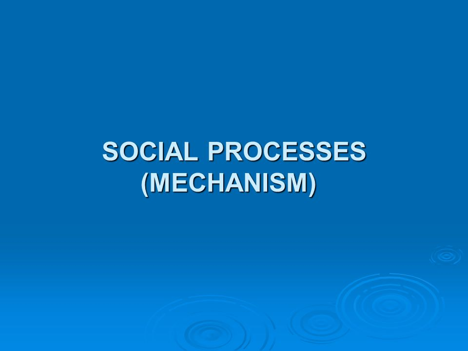 SOCIAL PROCESSES (MECHANISM)