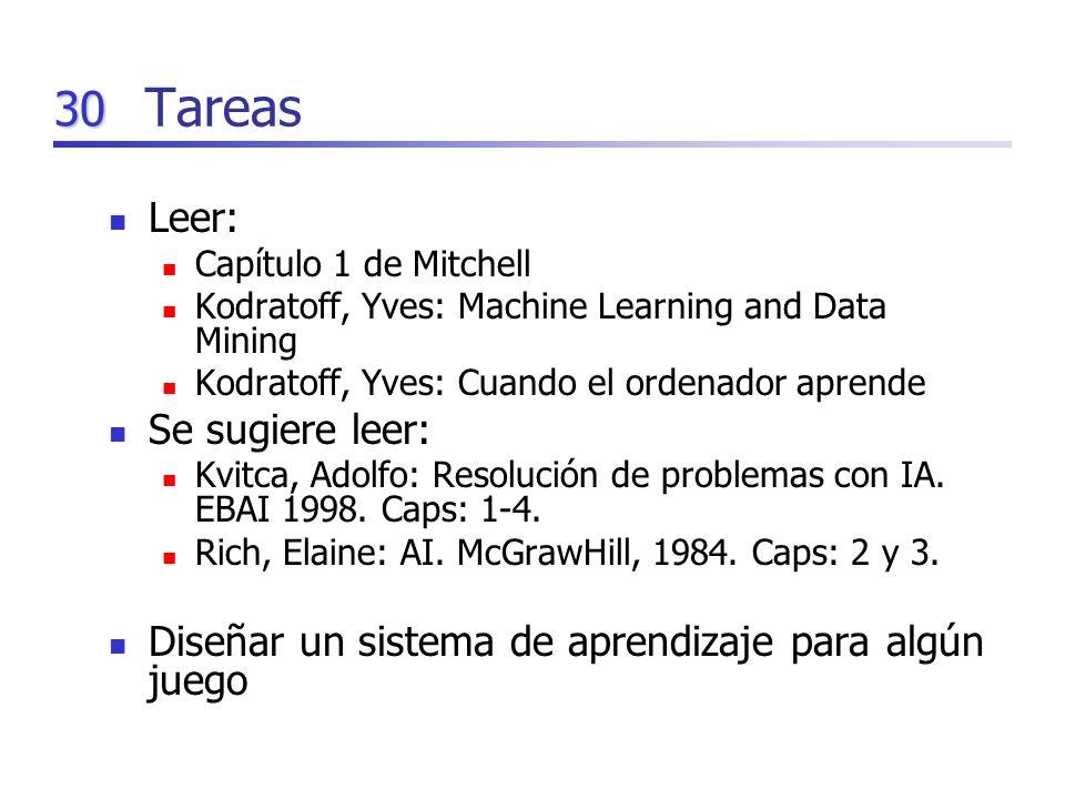 30 Tareas Leer: Capítulo 1 de Mitchell Kodratoff, Yves: Machine Learning and Data Mining Kodratoff, Yves: Cuando el ordenador aprende Se sugiere leer: Kvitca, Adolfo: Resolución de problemas con IA.