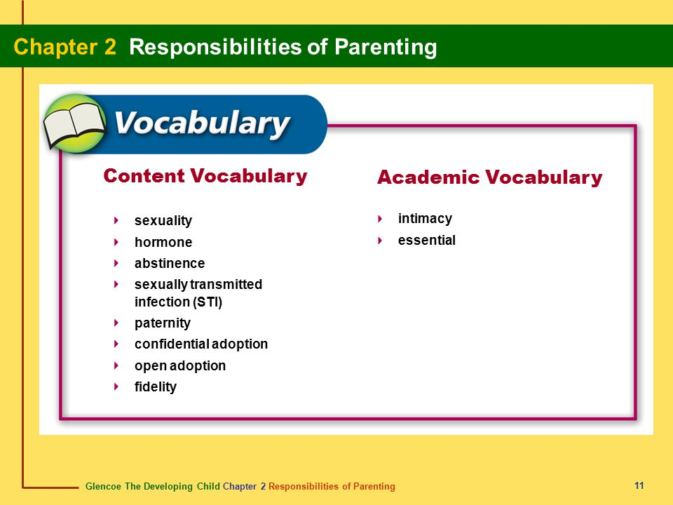 Glencoe The Developing Child Chapter 2 Responsibilities of Parenting Chapter 2 Responsibilities of Parenting 11 Content Vocabulary sexuality hormone a