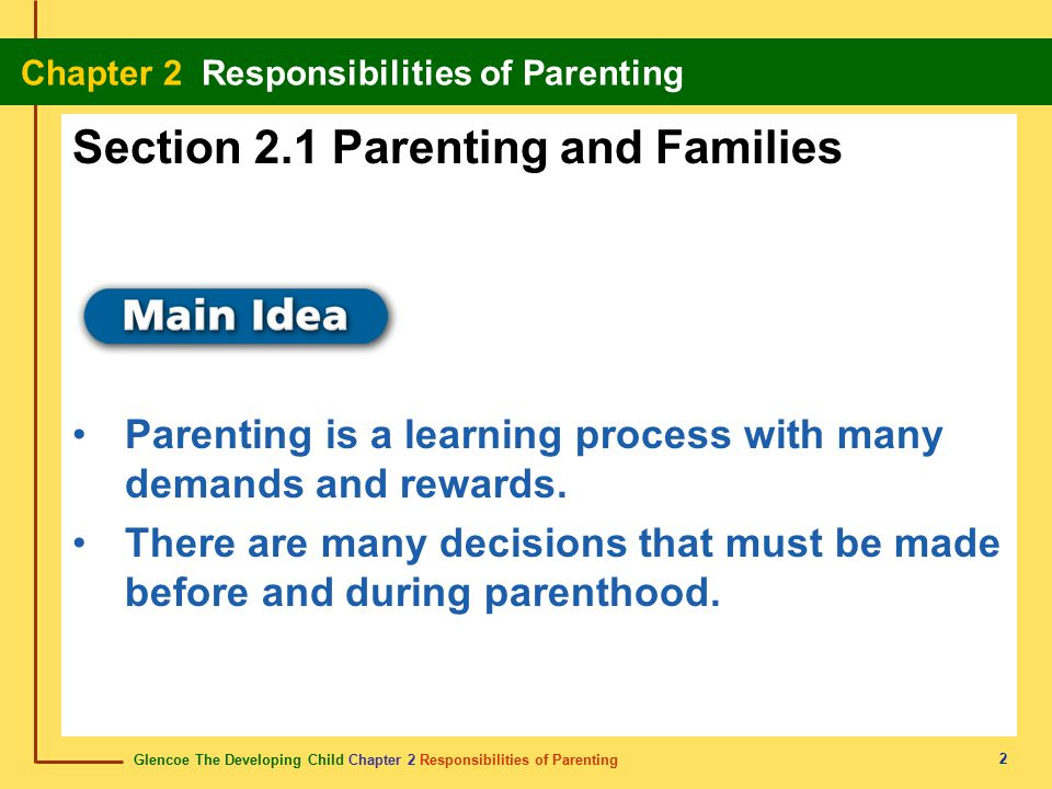 Glencoe The Developing Child Chapter 2 Responsibilities of Parenting Chapter 2 Responsibilities of Parenting 13 Sexual Development One role of the family is to pass on values.
