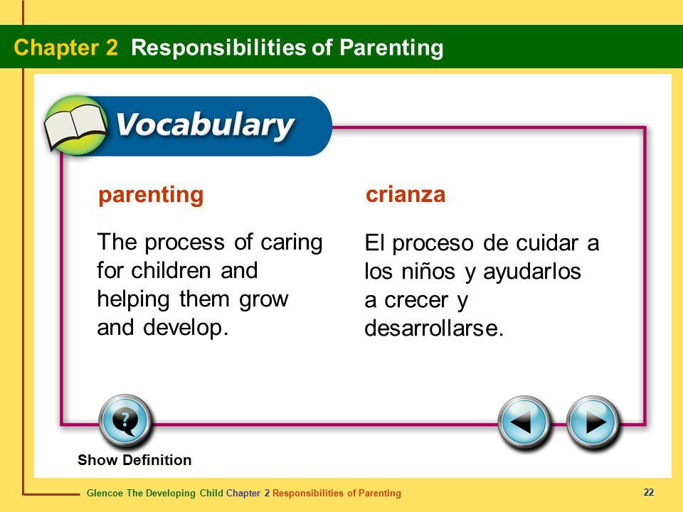 Glencoe The Developing Child Chapter 2 Responsibilities of Parenting Chapter 2 Responsibilities of Parenting 22 parenting crianza The process of carin
