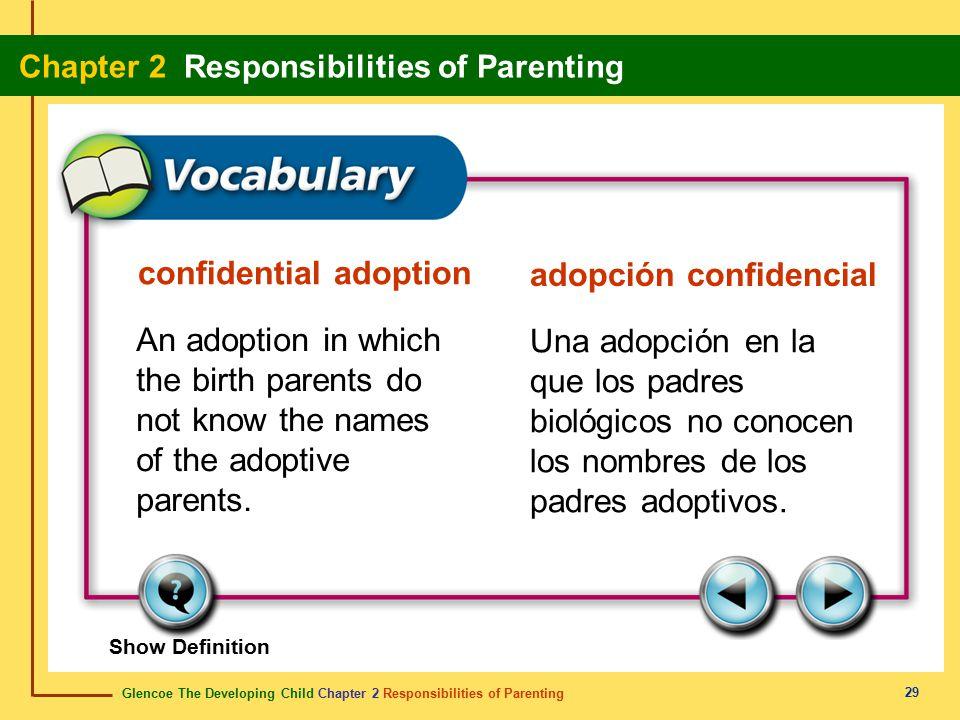Glencoe The Developing Child Chapter 2 Responsibilities of Parenting Chapter 2 Responsibilities of Parenting 29 confidential adoption adopción confide
