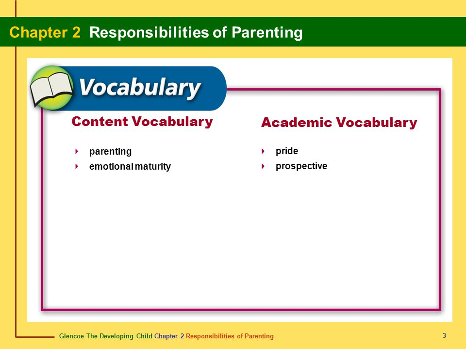 Glencoe The Developing Child Chapter 2 Responsibilities of Parenting Chapter 2 Responsibilities of Parenting 14 Abstinence Choosing abstinence allows you to take responsibility for your well-being.