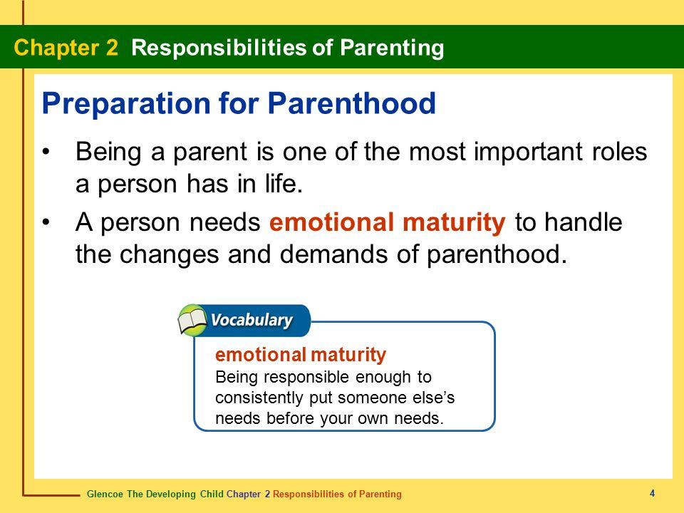 Glencoe The Developing Child Chapter 2 Responsibilities of Parenting Chapter 2 Responsibilities of Parenting 15 Consequences of Sexual Activity Sexual activity as a teen can cause difficulties in future relationships and loss of self-respect.