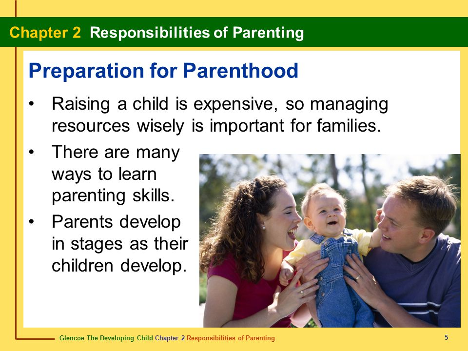 Glencoe The Developing Child Chapter 2 Responsibilities of Parenting Chapter 2 Responsibilities of Parenting 6 Preparation for Parenthood Time PeriodParents' TasksStage