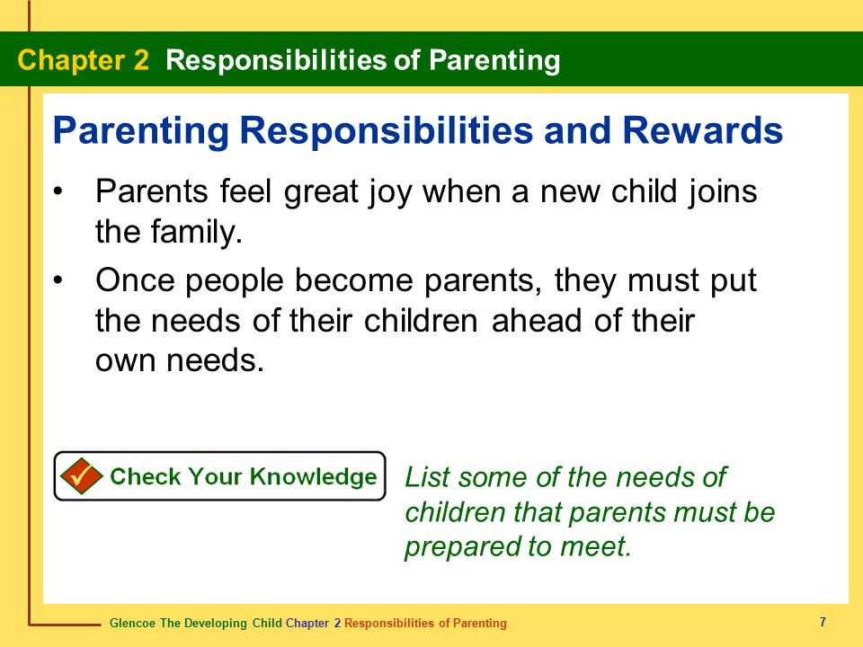 Glencoe The Developing Child Chapter 2 Responsibilities of Parenting Chapter 2 Responsibilities of Parenting 7 Parenting Responsibilities and Rewards