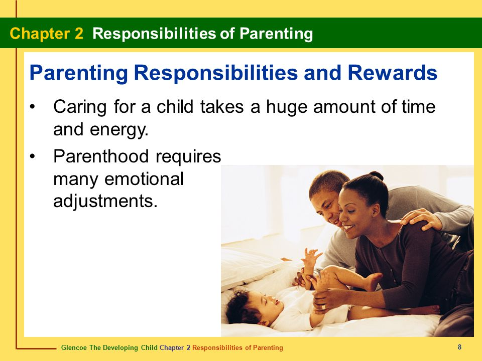 Glencoe The Developing Child Chapter 2 Responsibilities of Parenting Chapter 2 Responsibilities of Parenting 29 confidential adoption adopción confidencial An adoption in which the birth parents do not know the names of the adoptive parents.
