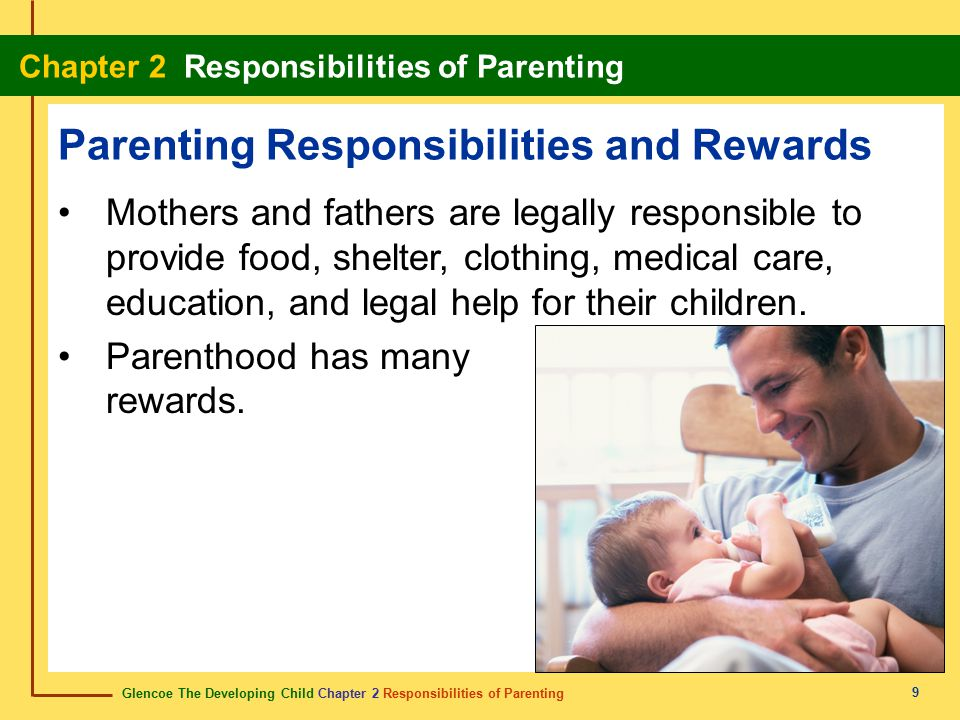 Glencoe The Developing Child Chapter 2 Responsibilities of Parenting Chapter 2 Responsibilities of Parenting 10 Choosing abstinence from sexual activity allows you to take responsibility for your well-being.