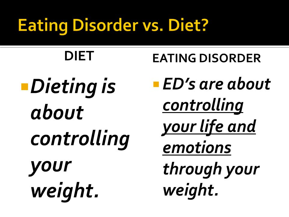 DIET  Dieting is about controlling your weight.
