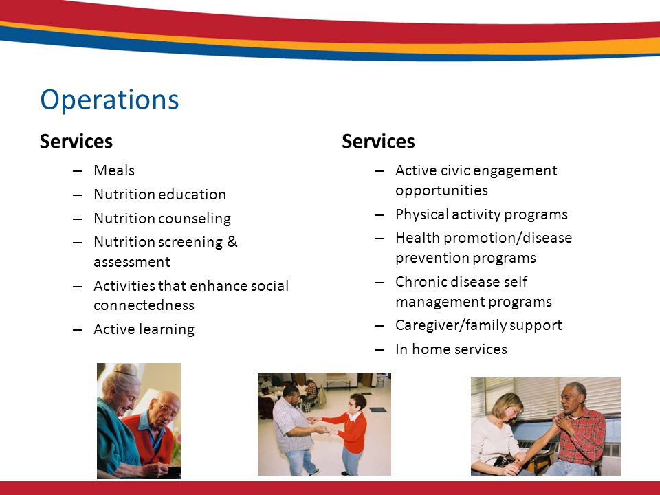 Operations Services – Meals – Nutrition education – Nutrition counseling – Nutrition screening & assessment – Activities that enhance social connectedness – Active learning Services – Active civic engagement opportunities – Physical activity programs – Health promotion/disease prevention programs – Chronic disease self management programs – Caregiver/family support – In home services