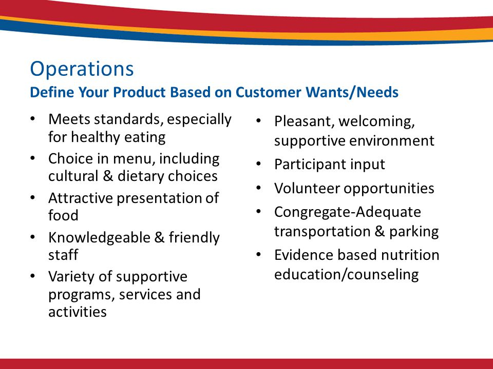 Operations Define Your Product Based on Customer Wants/Needs Meets standards, especially for healthy eating Choice in menu, including cultural & dietary choices Attractive presentation of food Knowledgeable & friendly staff Variety of supportive programs, services and activities Pleasant, welcoming, supportive environment Participant input Volunteer opportunities Congregate-Adequate transportation & parking Evidence based nutrition education/counseling