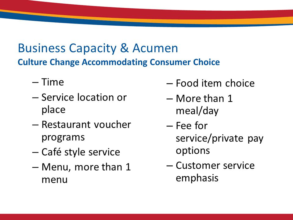 Business Capacity & Acumen Culture Change Accommodating Consumer Choice – Time – Service location or place – Restaurant voucher programs – Café style service – Menu, more than 1 menu – Food item choice – More than 1 meal/day – Fee for service/private pay options – Customer service emphasis