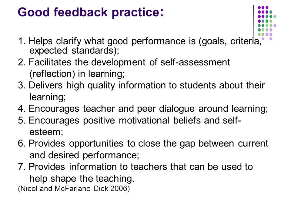 Good feedback practice : 1.