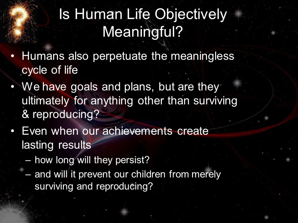 Is Human Life Objectively Meaningful.