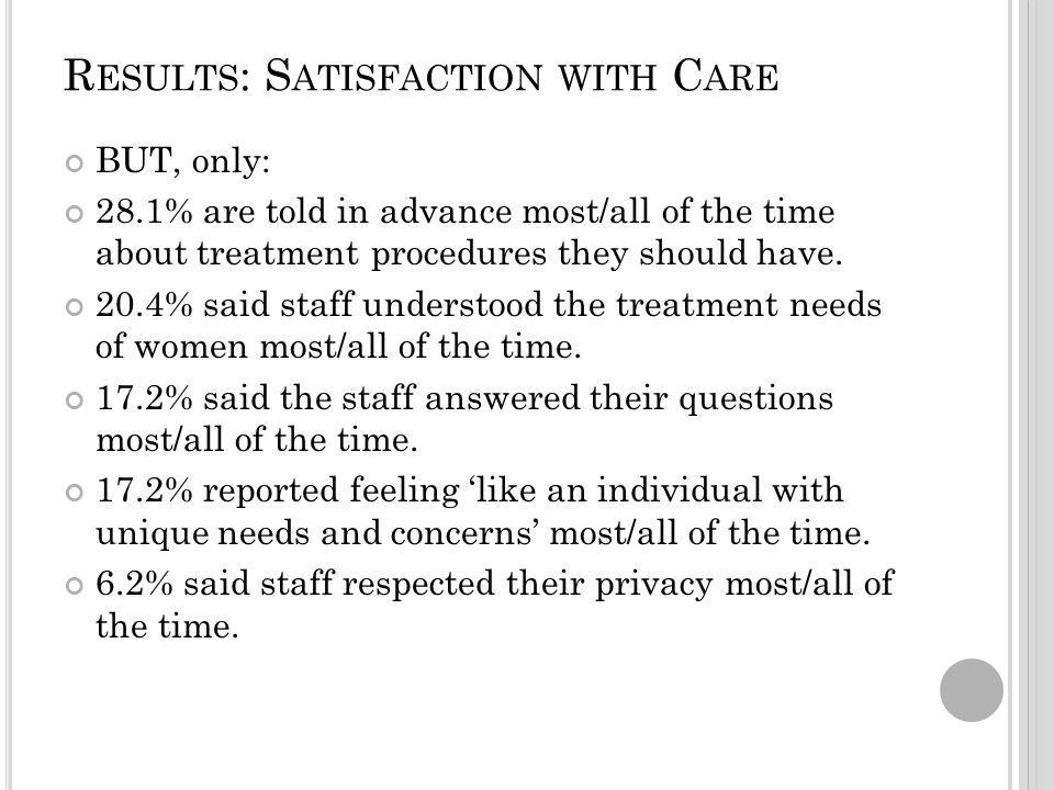 R ESULTS : S ATISFACTION WITH C ARE BUT, only: 28.1% are told in advance most/all of the time about treatment procedures they should have.