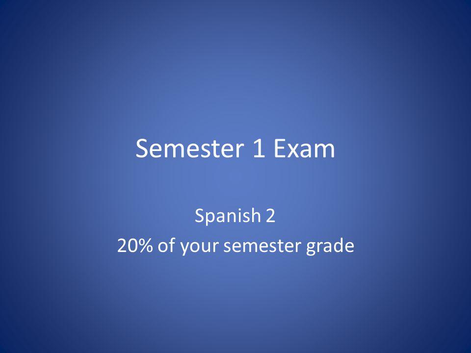 Semester 1 Exam Spanish 2 20% of your semester grade