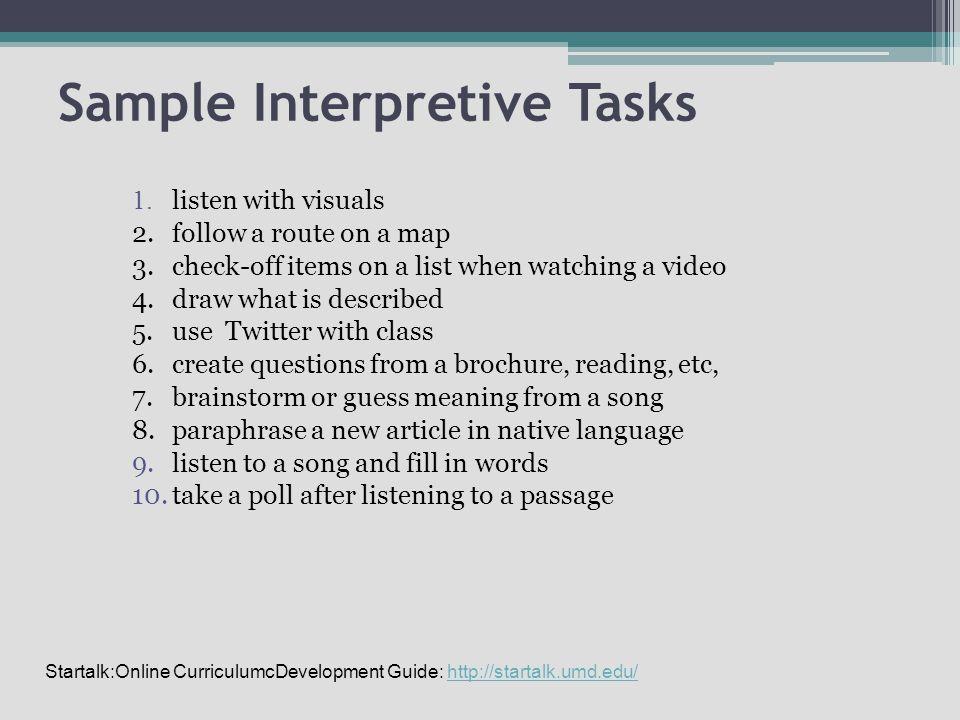 Sample Interpretive Tasks 1.