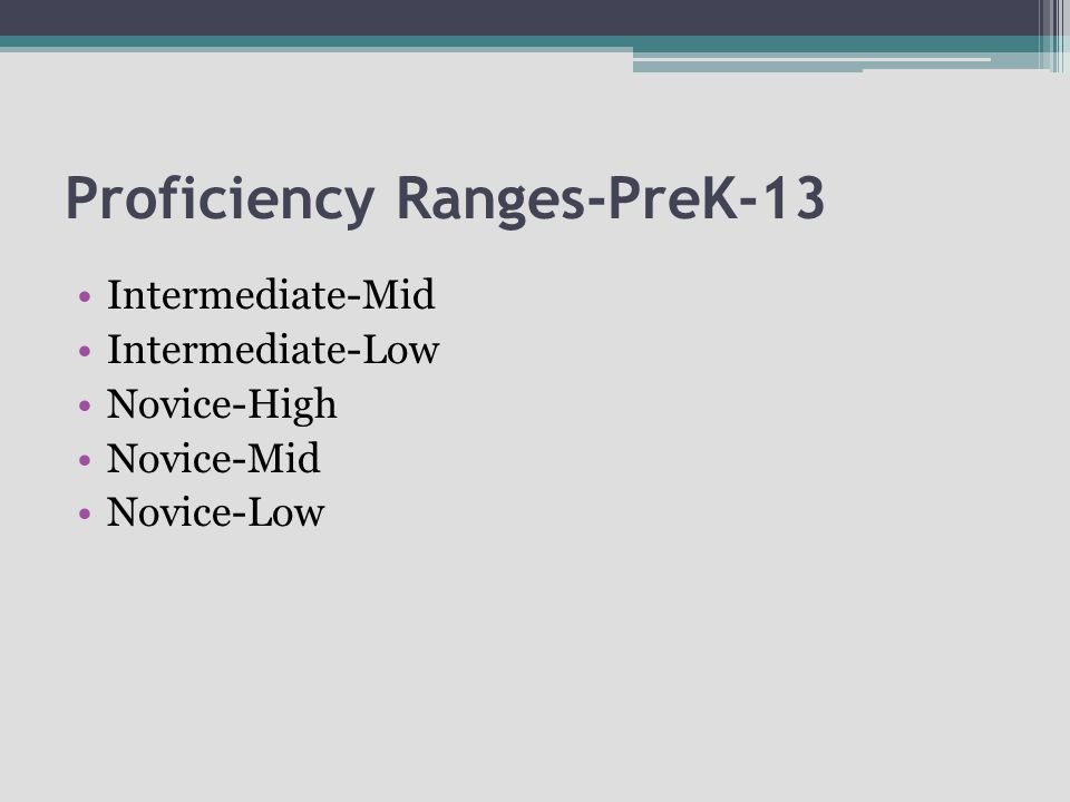 Proficiency Ranges-PreK-13 Intermediate-Mid Intermediate-Low Novice-High Novice-Mid Novice-Low