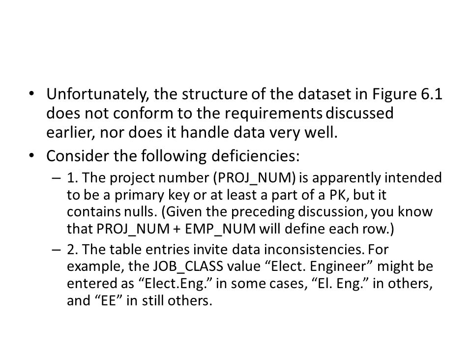 Unfortunately, the structure of the dataset in Figure 6.1 does not conform to the requirements discussed earlier, nor does it handle data very well.
