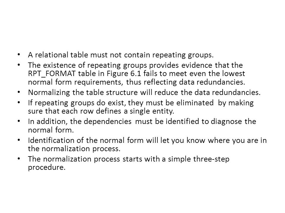 A relational table must not contain repeating groups.
