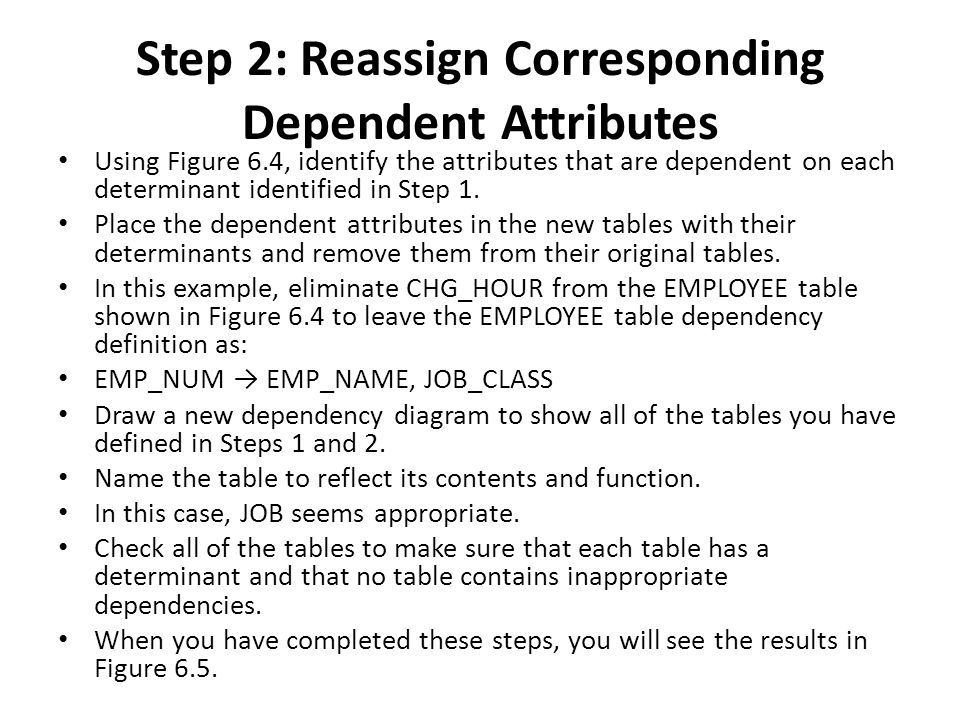 Step 2: Reassign Corresponding Dependent Attributes Using Figure 6.4, identify the attributes that are dependent on each determinant identified in Step 1.