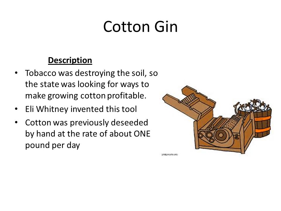 Cotton Gin Description Tobacco was destroying the soil, so the state was looking for ways to make growing cotton profitable. Eli Whitney invented this