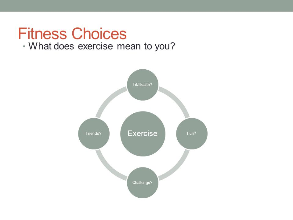 Fitness Choices What does exercise mean to you Exercise Fit/Health Fun Challenge Friends
