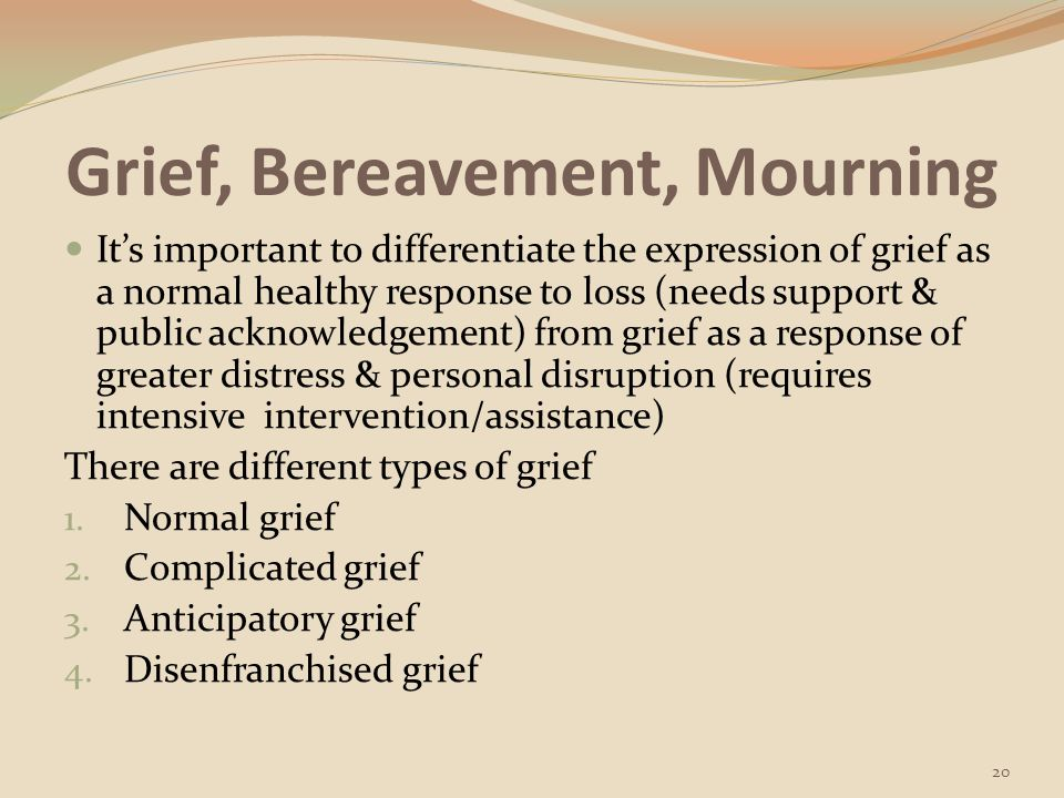 Grief, Bereavement, Mourning Although bereavement can threaten health, a positive resolution of the grieving process can enrich the individual with new insights, values, challenges, openness, & sensitivity (Berman et al., p.
