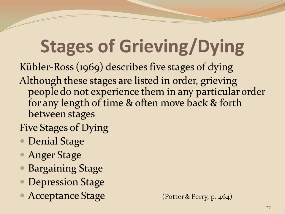 Stages of Grieving/Dying Denial & Isolation Stage: a person acts as though nothing has happened & refuses to accept the fact of the loss; person shows no understanding of what has occurred (Potter & Perry, p.
