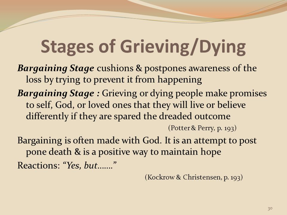 Stages of Grieving/Dying Depression Stage occurs when a person realizes the full impact of the loss Depression Stage: Some feel an overwhelming sense of sadness, hopelessness, & loneliness; resigned to the bad outcome, they sometimes withdraw from relationships & life (Potter & Perry, p.