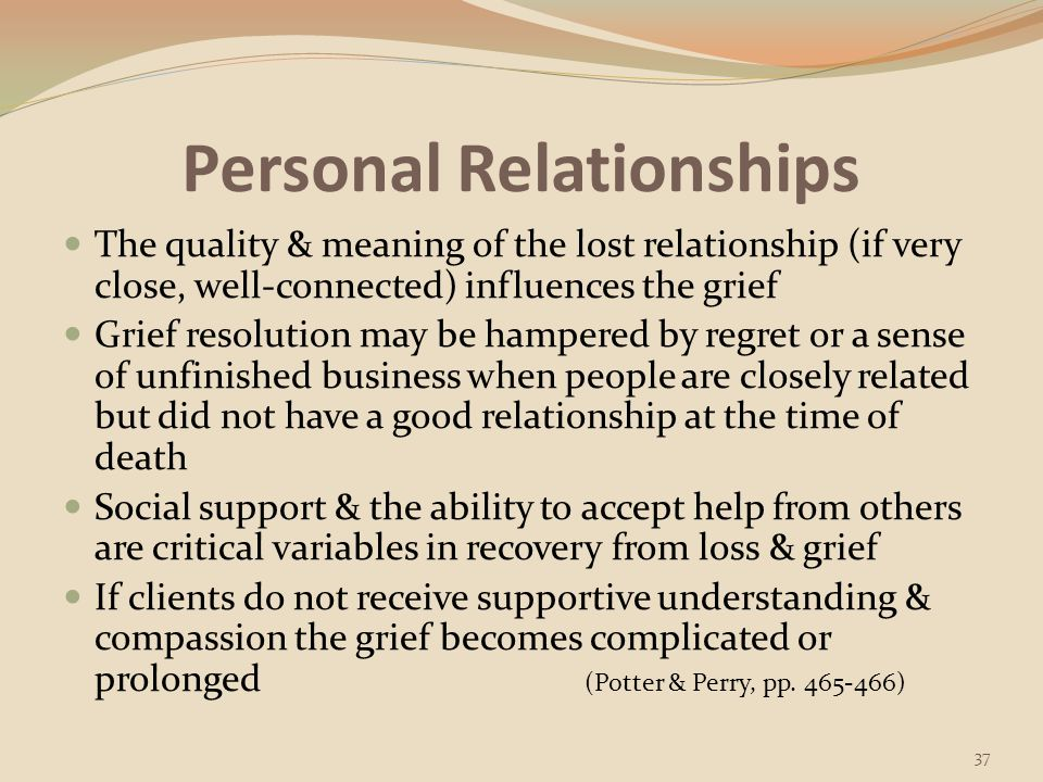Nature of the Loss Exploring the meaning of the loss for a client helps the healthcare worker understand the impact of loss on client's behavior, health, & well-being (Corless, as cited in Potter & Perry, p.