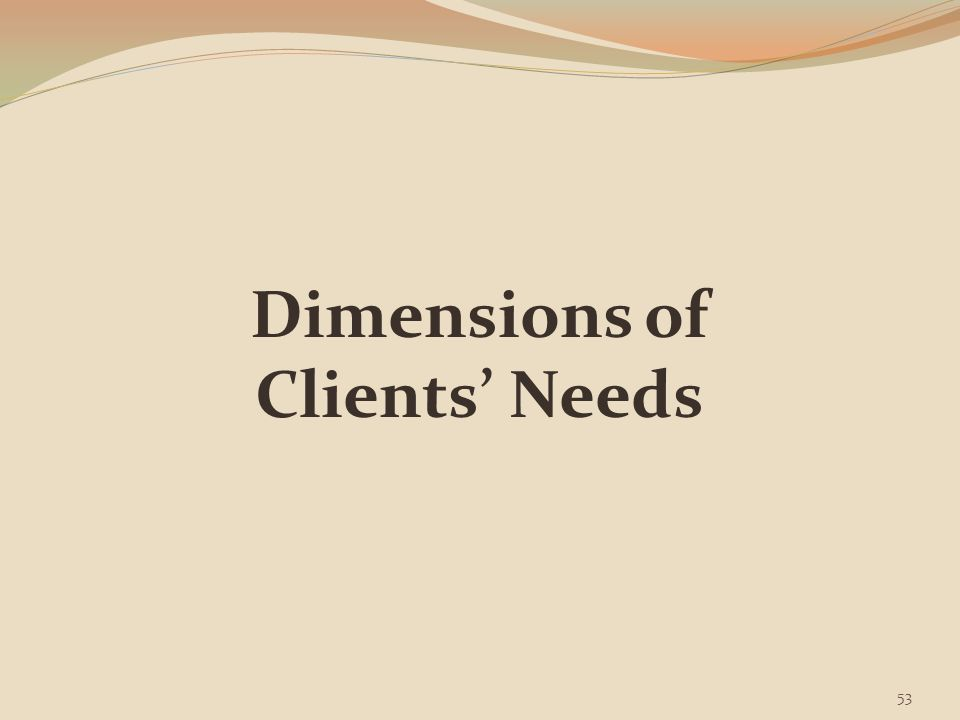 Dimensions of Clients' of Needs To give compassionate care & support to the family & dying patient during the grieving & dying process, the healthcare worker should consider the five aspects of human functioning: Physical Emotional Intellectual Social Spiritual (Kockrow & Christensen, p.