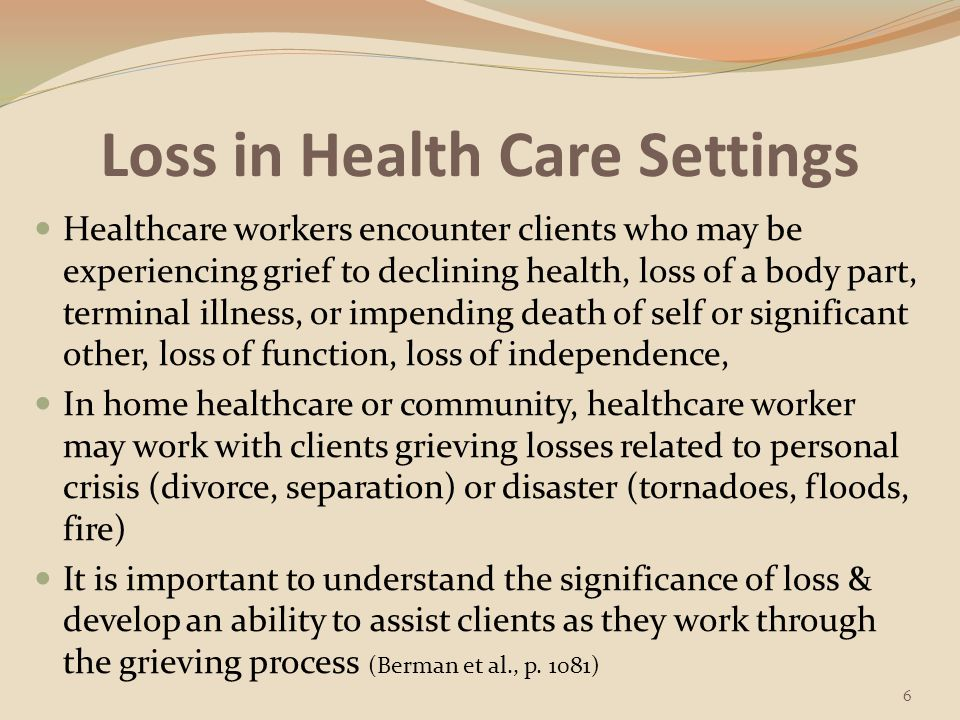 Loss Loss: The actual or potential situation in which something that is valued is changed & no longer available People can experience the loss of body image, a significant other, a sense of well-being, a job, personal possessions, or beliefs Illness & hospitalization often produce losses (Berman et al., p.
