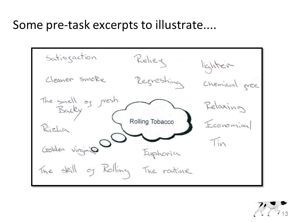 13 Some pre-task excerpts to illustrate....