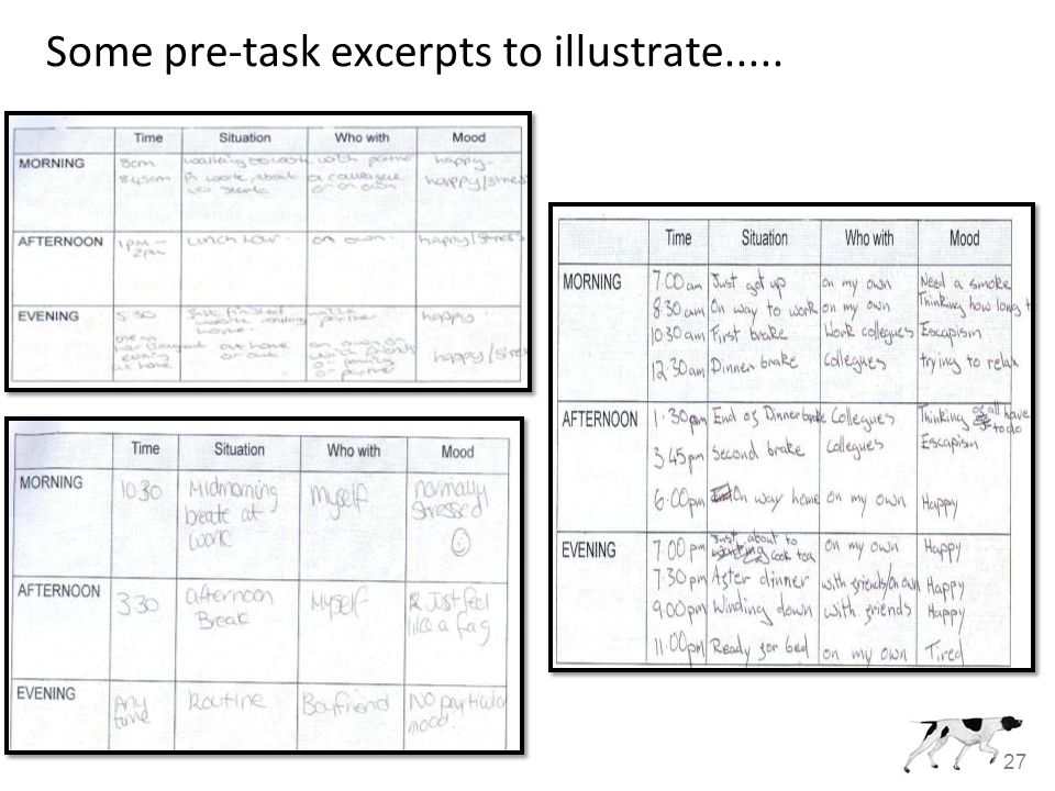 27 Some pre-task excerpts to illustrate.....