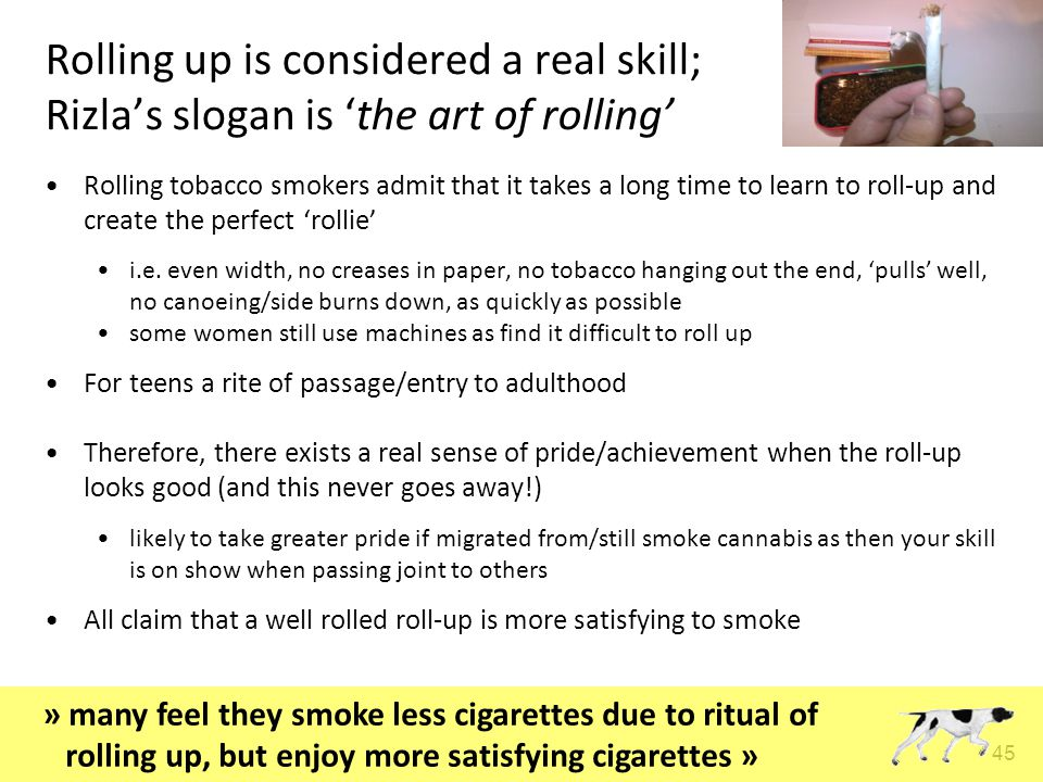 45 Rolling up is considered a real skill; Rizla's slogan is 'the art of rolling' Rolling tobacco smokers admit that it takes a long time to learn to roll-up and create the perfect 'rollie' i.e.