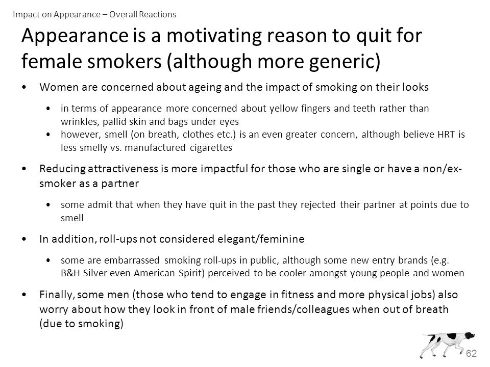 62 Appearance is a motivating reason to quit for female smokers (although more generic) Women are concerned about ageing and the impact of smoking on their looks in terms of appearance more concerned about yellow fingers and teeth rather than wrinkles, pallid skin and bags under eyes however, smell (on breath, clothes etc.) is an even greater concern, although believe HRT is less smelly vs.