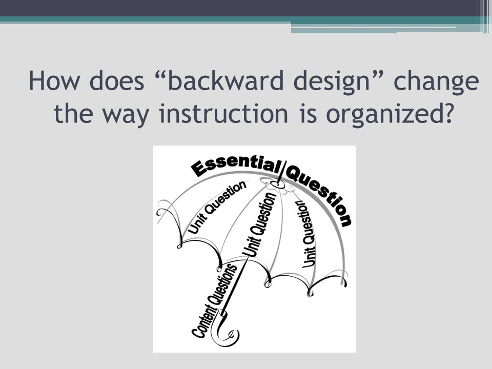 How does backward design change the way instruction is organized