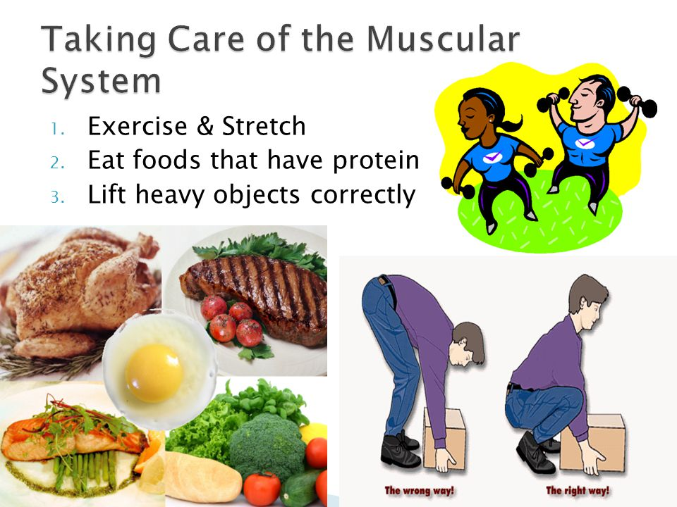 1. Exercise & Stretch 2. Eat foods that have protein 3. Lift heavy objects correctly