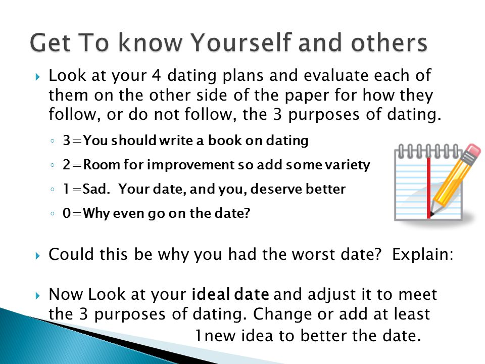  Look at your 4 dating plans and evaluate each of them on the other side of the paper for how they follow, or do not follow, the 3 purposes of dating
