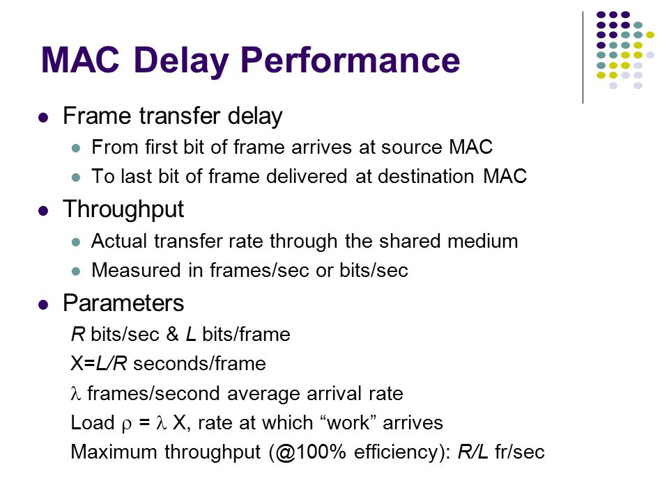 MAC protocol features Delay-bandwidth product Efficiency Transfer delay Fairness Reliability Capability to carry different types of traffic Quality of