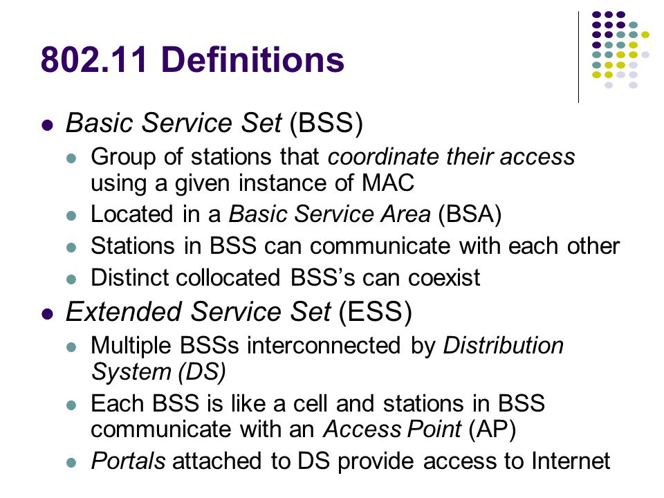 IEEE 802.11 Wireless LAN Stimulated by availability of unlicensed spectrum U.S. Industrial, Scientific, Medical (ISM) bands 902-928 MHz, 2.400-2.4835