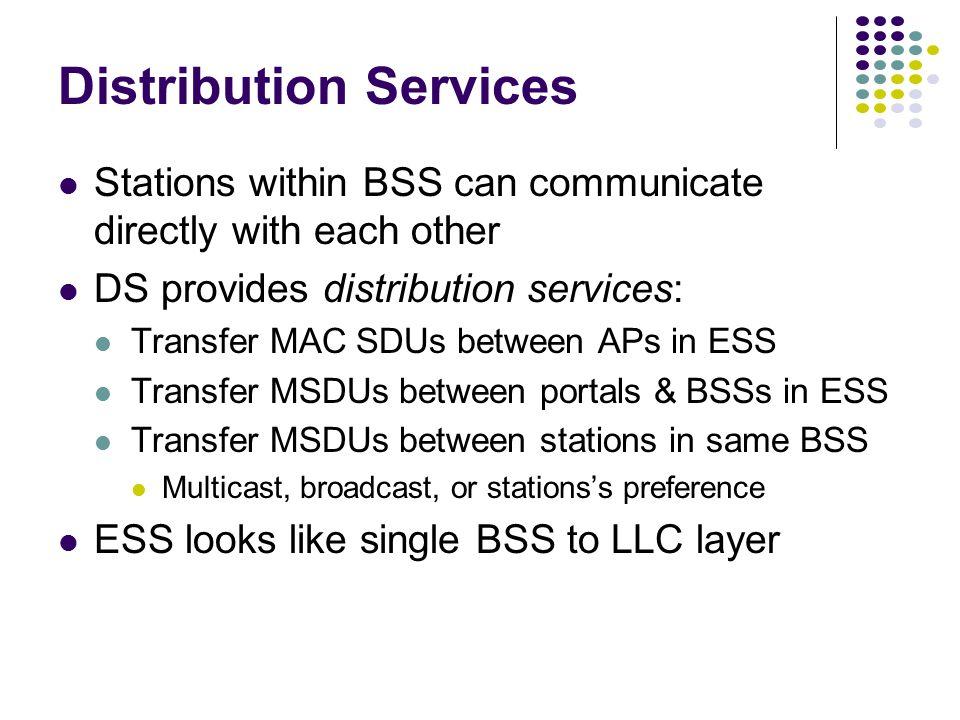 A2 B2 B1 A1 AP1 AP2 Distribution System Server Gateway to the Internet Portal BSS A BSS B Infrastructure Network