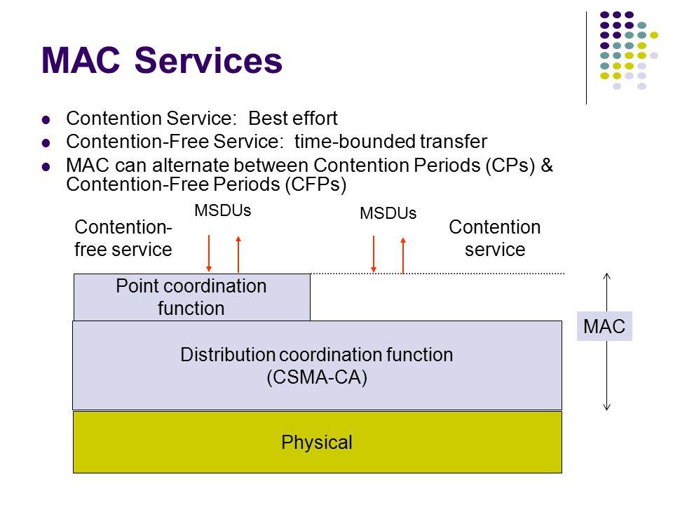 IEEE 802.11 MAC MAC sublayer responsibilities Channel access PDU addressing, formatting, error checking Fragmentation & reassembly of MAC SDUs MAC sec
