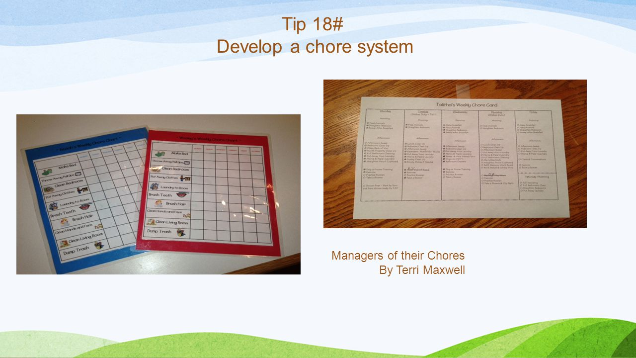 Tip 18# Develop a chore system Managers of their Chores By Terri Maxwell