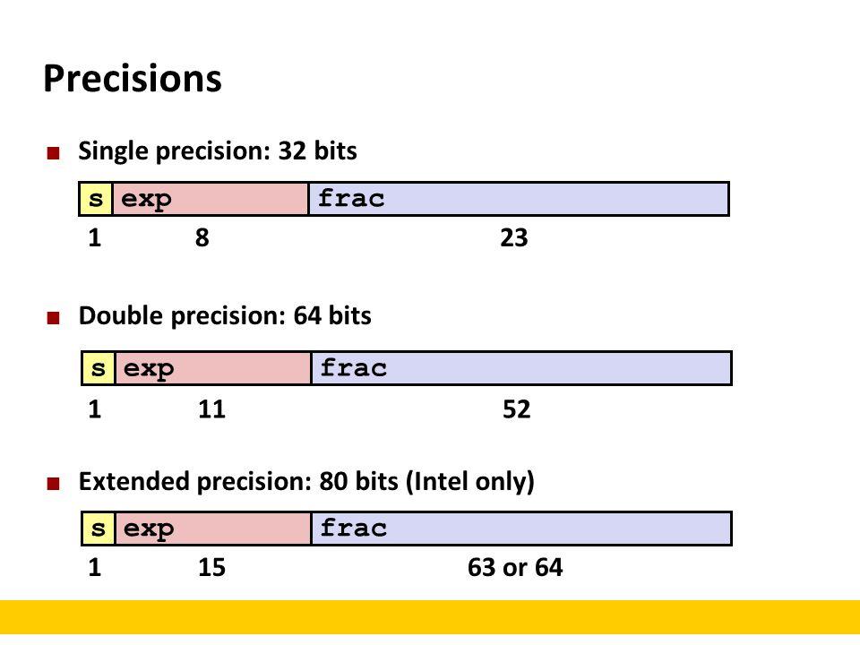 Precisions Single precision: 32 bits Double precision: 64 bits Extended precision: 80 bits (Intel only) sexpfracsexpfracsexpfrac 1823 11152 11563 or 64