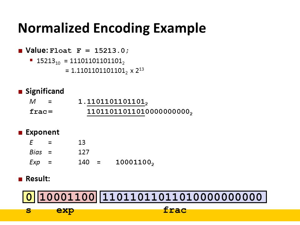 Normalized Encoding Example Value: Float F = 15213.0;  15213 10 = 11101101101101 2 = 1.1101101101101 2 x 2 13 Significand M = 1.1101101101101 2 frac= 11011011011010000000000 2 Exponent E = 13 Bias = 127 Exp = 140 = 10001100 2 Result: 0 10001100 11011011011010000000000 sexpfrac