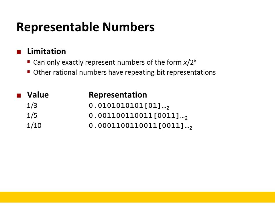 Representable Numbers Limitation  Can only exactly represent numbers of the form x/2 k  Other rational numbers have repeating bit representations ValueRepresentation 1/3 0.0101010101[01]… 2 1/5 0.001100110011[0011]… 2 1/10 0.0001100110011[0011]… 2