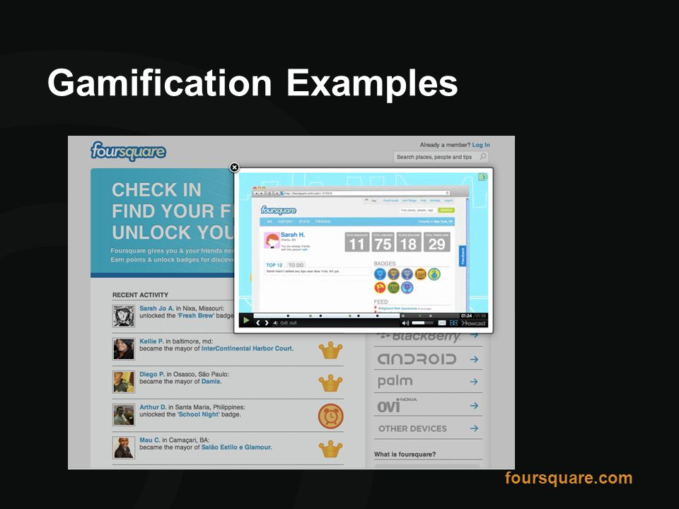 Gamification Examples foursquare.com