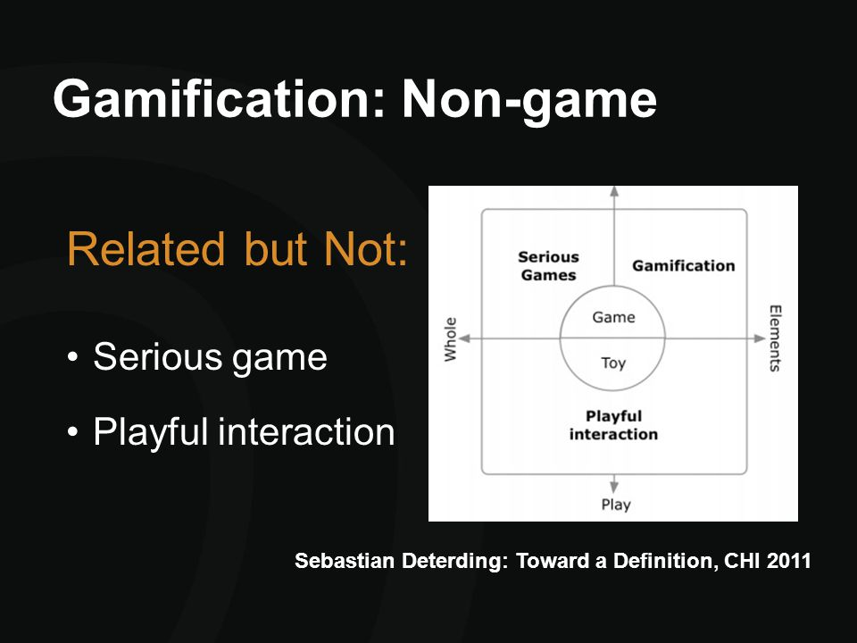 Gamification: Non-game Related but Not: Serious game Playful interaction Sebastian Deterding: Toward a Definition, CHI 2011